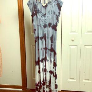 Tie dye maxi dress grey black&white size medium